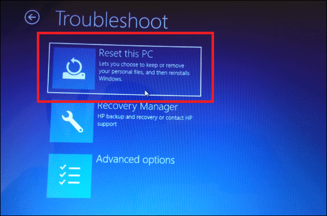 click on reset this pc to refresh windows 10