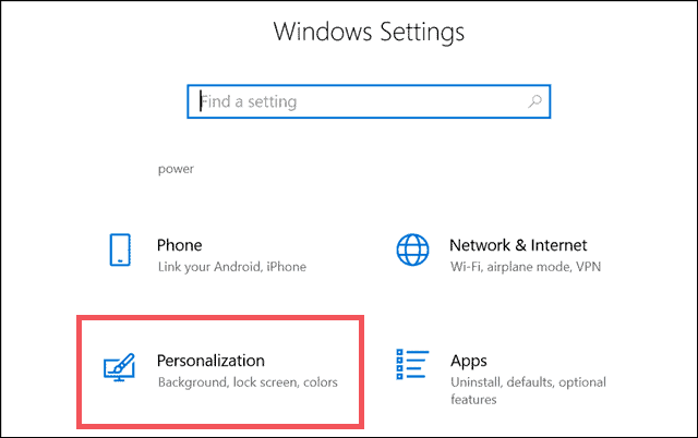 go to windows settings