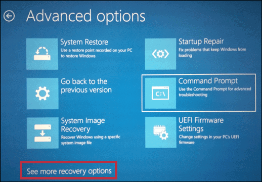 see more recovery options for how to fix corrupted files