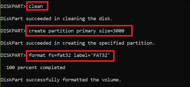 clean and format to partition usb drive