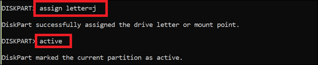 letter assign using the active command