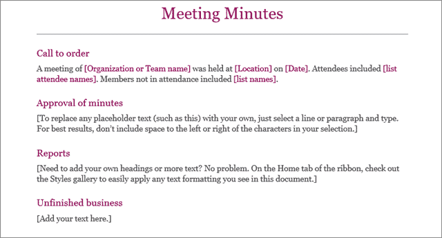 classic meeting minutes