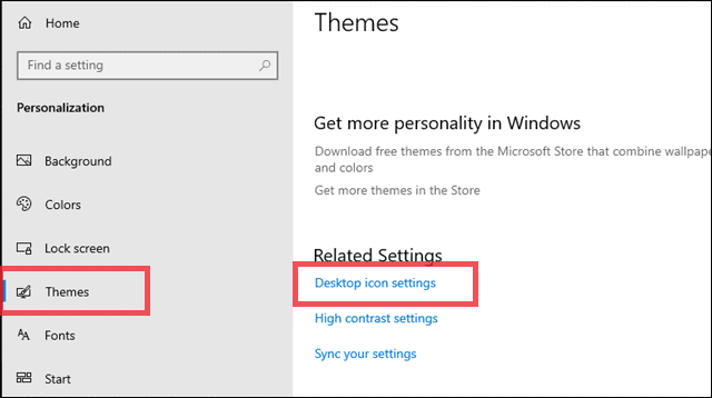 manage desktop icon settings to restore recycle bin
