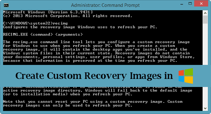 Create custom recovery images in Windows 8