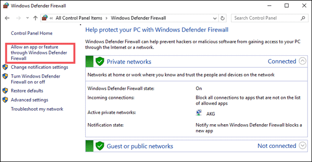 Protect your PC with windows defender firewall