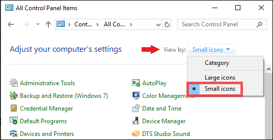 select small icons in the computer settings