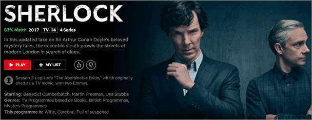 sherlock bbc shows on Netflix