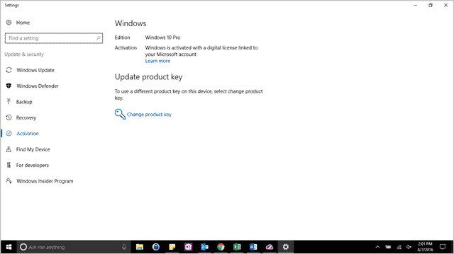 Windows 10 Activation settings