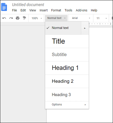 select text for headings