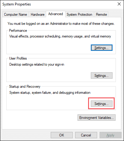 Open Settings for Startup and Recovery