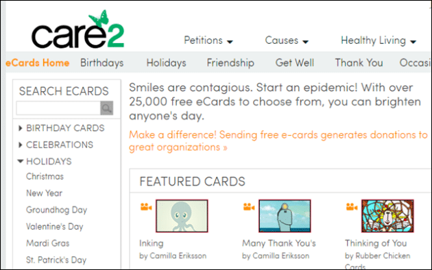 Care2 Free Online E Card Sites