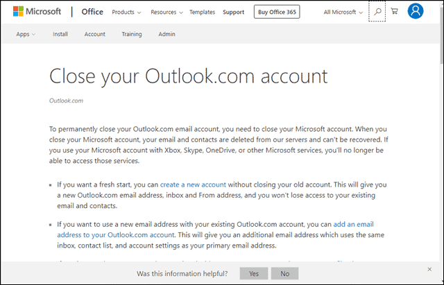 termination page to delete Microsoft account