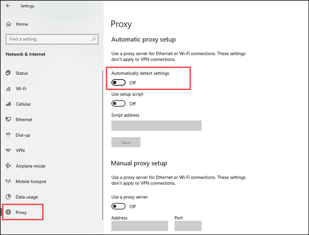 Open Proxy settings in Windows when chrome keep freezing