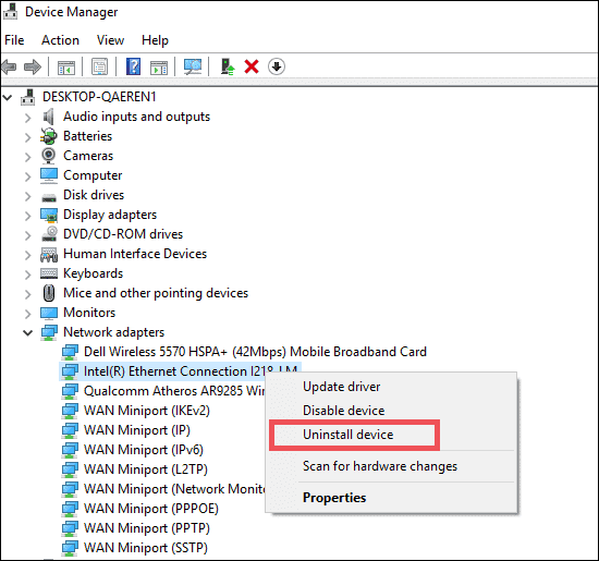uninstall device driver to fix dns issues