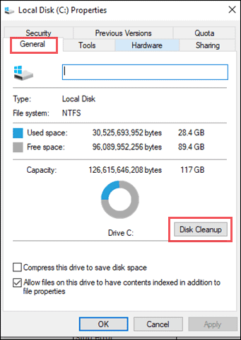 Clean your disk space to fix blue screen of death