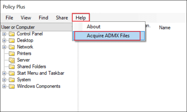 acquire admx file