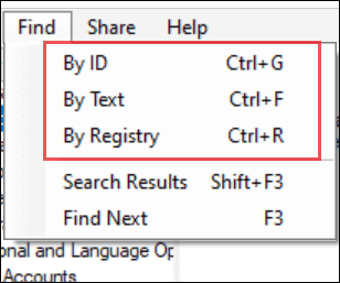 find by id, text, registry