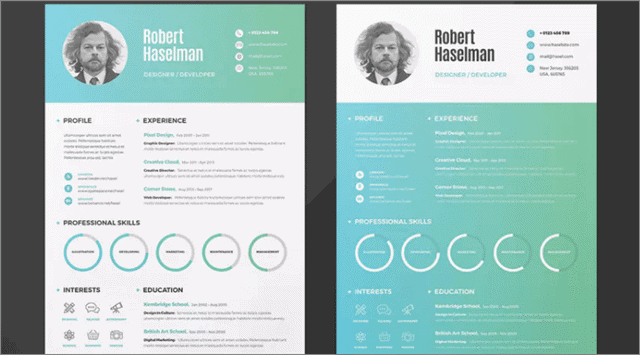 11 clean and colrful resume