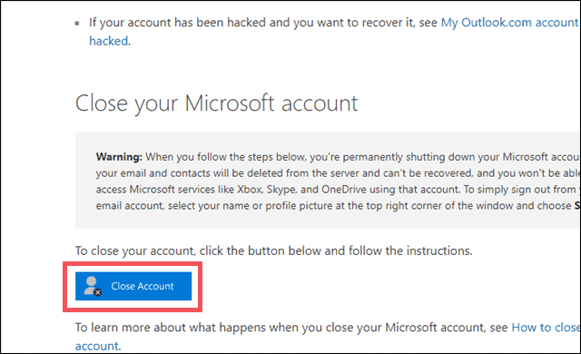 click on close microsoft account