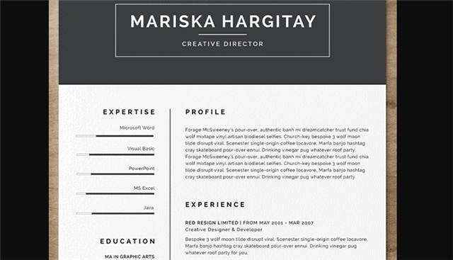 High End Free Resume