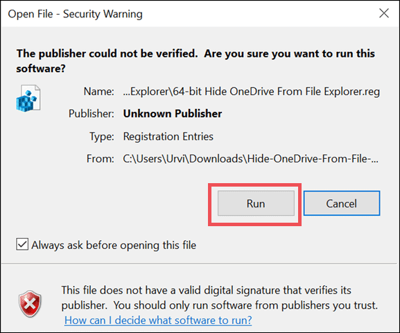 run registry file to remove onedrive from file explorer