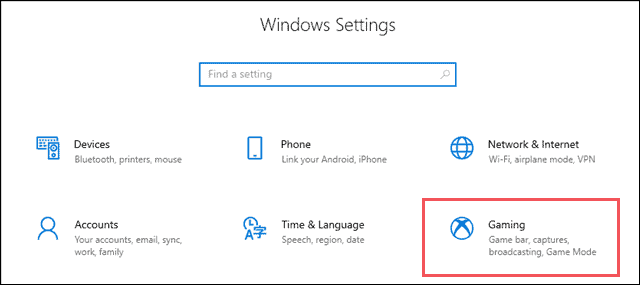 Windows setting and click on Gaming
