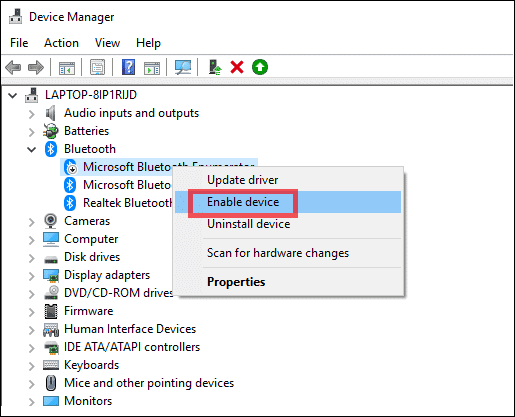 enable bluetooth driver to turn on bluetooth windows 10