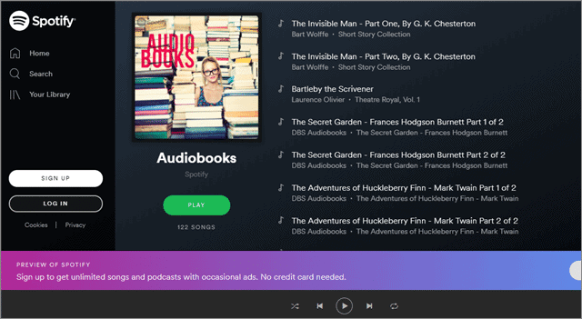 spotify for free audio books