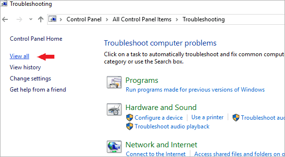 view all service troubleshoot