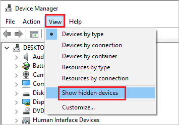 Select Show hidden devices under View when headset mic not working windows 10