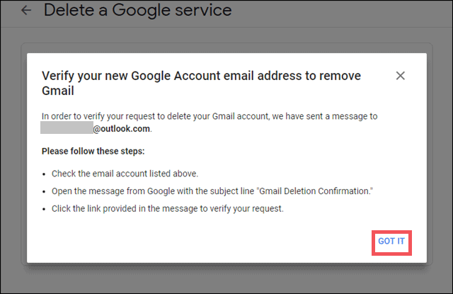 check and verify email id on how to delete gmail account