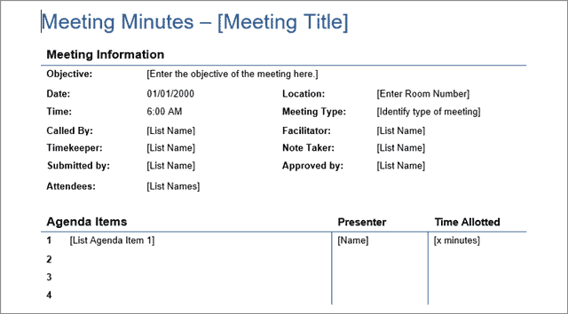 detailed meet template