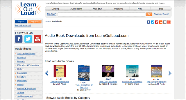 learn out loud free audio books app