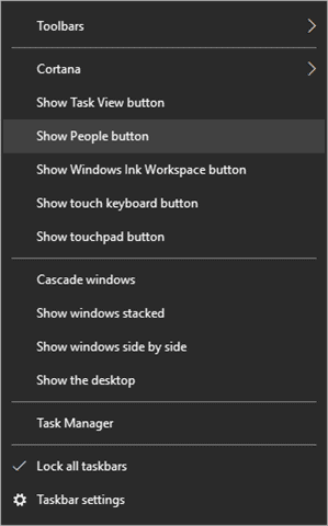 (13) remove people button from taskbar
