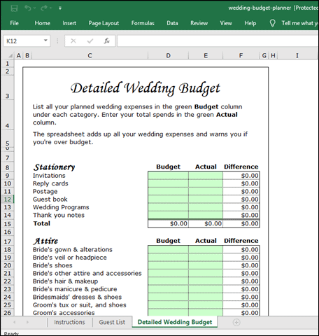 squawkfox wedding planner template