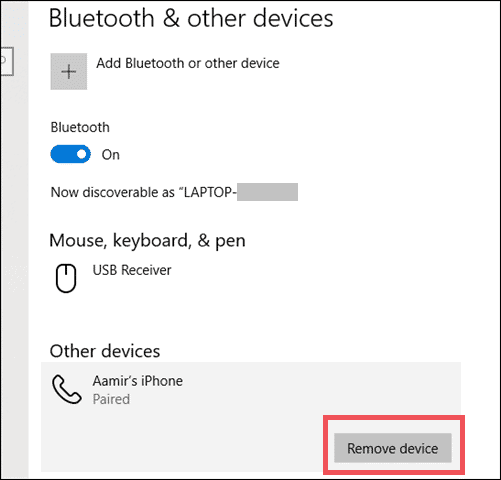 unpair a bluetooth device