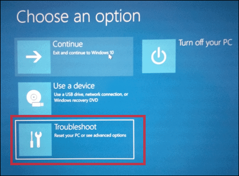 Click on Troubleshoot to fix blue screen windows 10