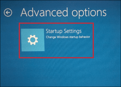 Click on Startup Settings