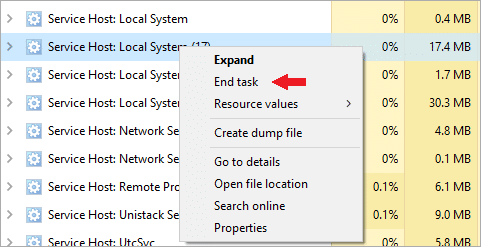 End the Service Host: Local System task