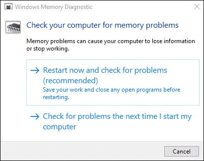 Run memory diagnostics when windows 10 file explorer keeps crashing