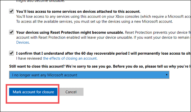 Final step for how to delete microsoft account