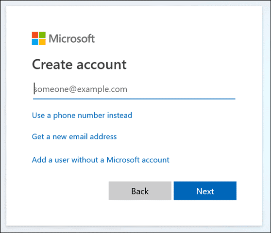 Create another account on Microsoft