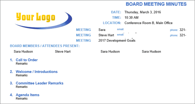 board meeting template