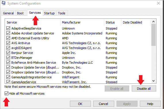 disable all the non-Microsoft services