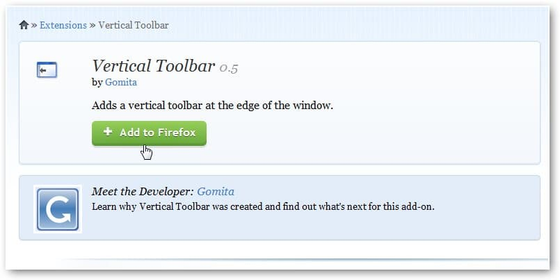 Vertical Toolbar Firefox Extension Frees Up Viewing Space on