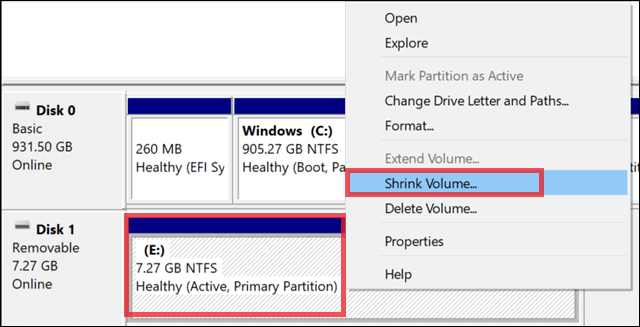 shrink the value to partition a usb drive