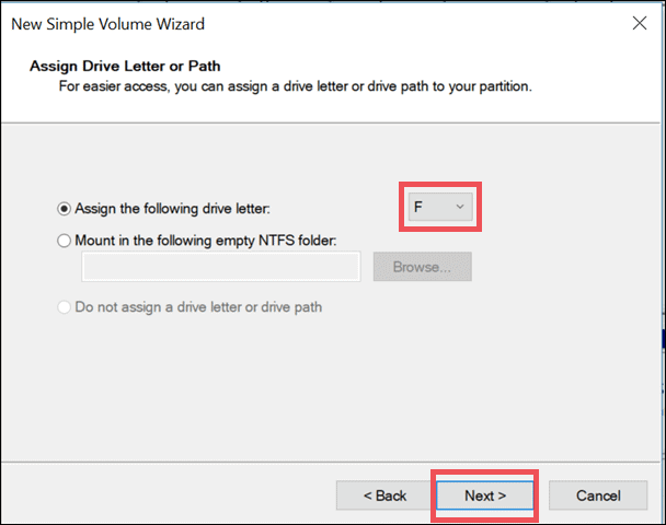 assign a letter to partition usb drive