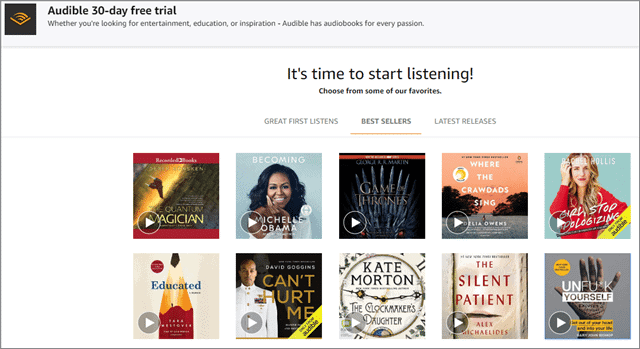 audible listen to books