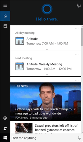 Cortana in action in Windows 10