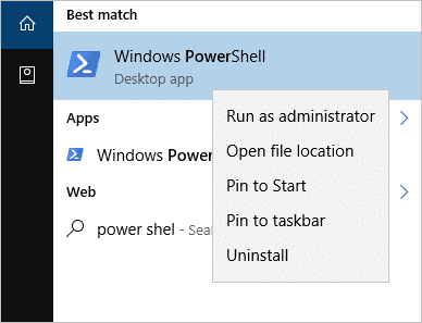 Opening Windows PowerShell to fix corrupted files